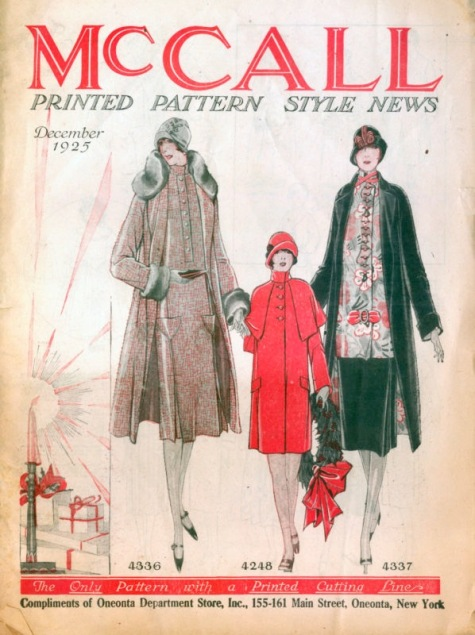 1920s McCall Style News - Christmas/holiday issue - McCall 4336 (two-piece ensemble suit), McCall 4248 (girl's coat), and McCall 4337 (three-piece ensemble suit)