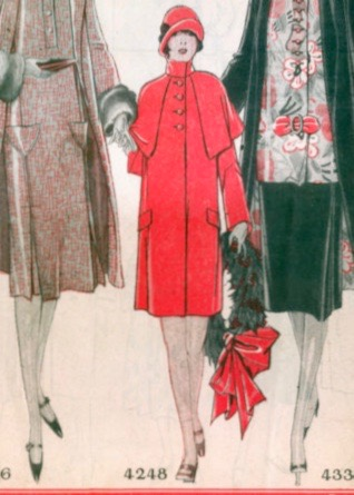 1925 McCall Style News detail - girl with wreath - McCall 4248 cape-coat