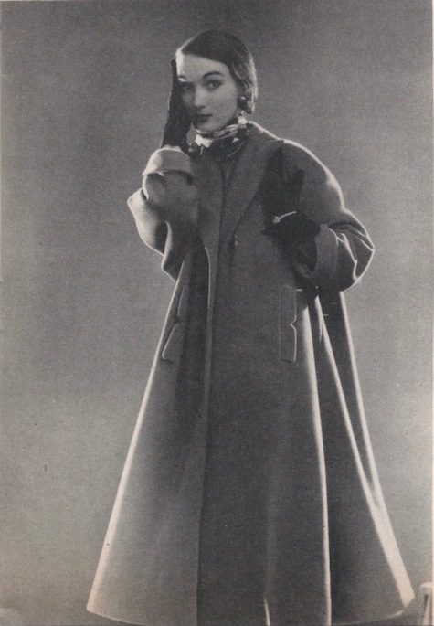 Evelyn Tripp in 1950s tent coat pattern Simplicity 8217