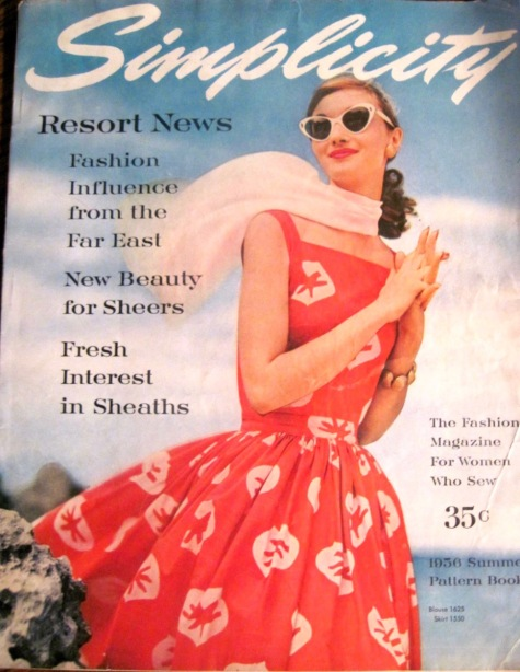 Evelyn Tripp on the cover of Simplicity's 1956 Summer Simplicity Pattern Book