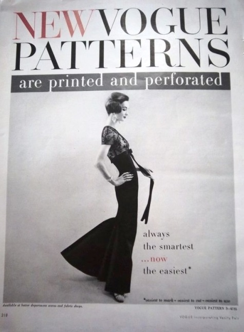 1950s Vogue Patterns ad featuring Evelyn Tripp in Vogue