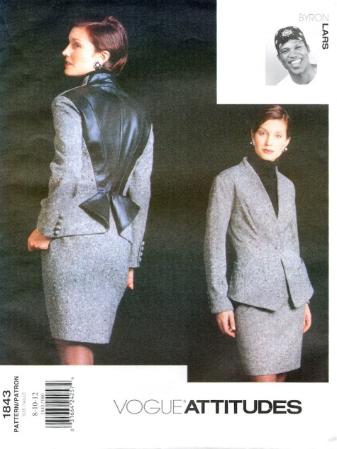 1990s Byron Lars skirt suit pattern - Vogue 1843