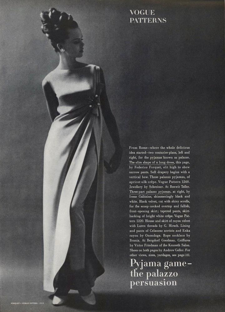 1960s Forquet palazzo pyjama pattern Vogue 1260 in Vogue magazine