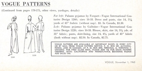 """Vogue Patterns are available at important shops in every city..."" back views in Vogue, Nov. 1963"