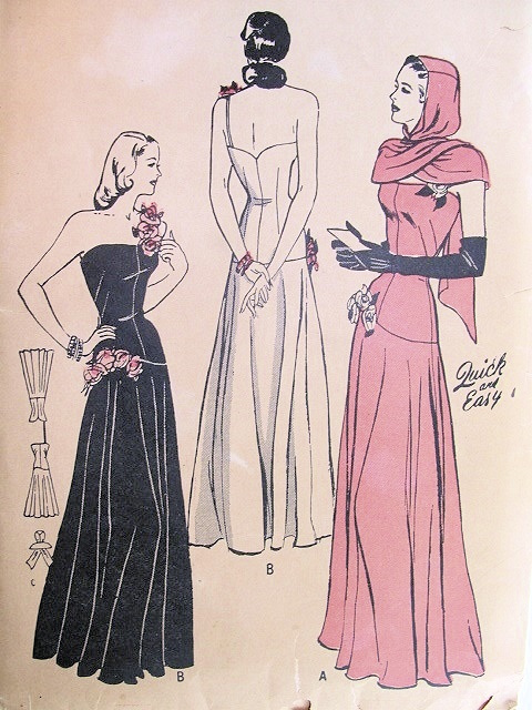 Quick and Easy 1940s evening dress and hooded scarf pattern - Butterick 4391