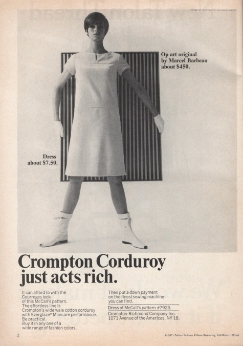 """Crompton Corduroy just acts rich"" - 1960s Crompton Corduroy advert featuring Marcel Barbeau art and a McCall's pattern"