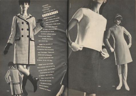 1960s Courrèges-look patterns McCall's 7938, 7932, and 7918 photographed by Edward Pfizenmaier for McCall's Pattern Fashions