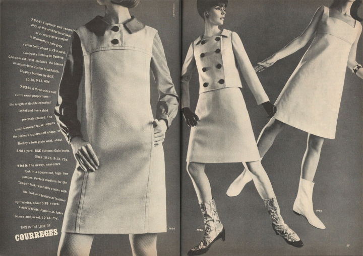 1960s Courrèges-look patterns McCall's 7914, 7936, and 7923 photographed by Edward Pfizenmaier for McCall's Pattern Fashions