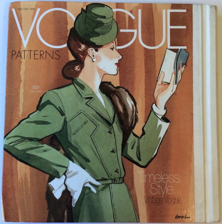 "Lamont O'Neal illustration, ""Timeless Style... Vintage Vogue."" Vogue Patterns Sept/Oct 1999 catalogue back cover with Vogue 2321 illustration"