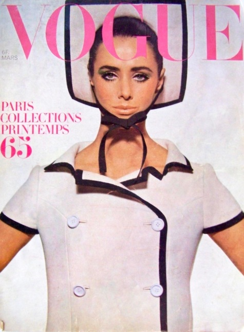 1960s Vogue Paris cover featuring Maggie Eckhardt in a Courrèges ensemble