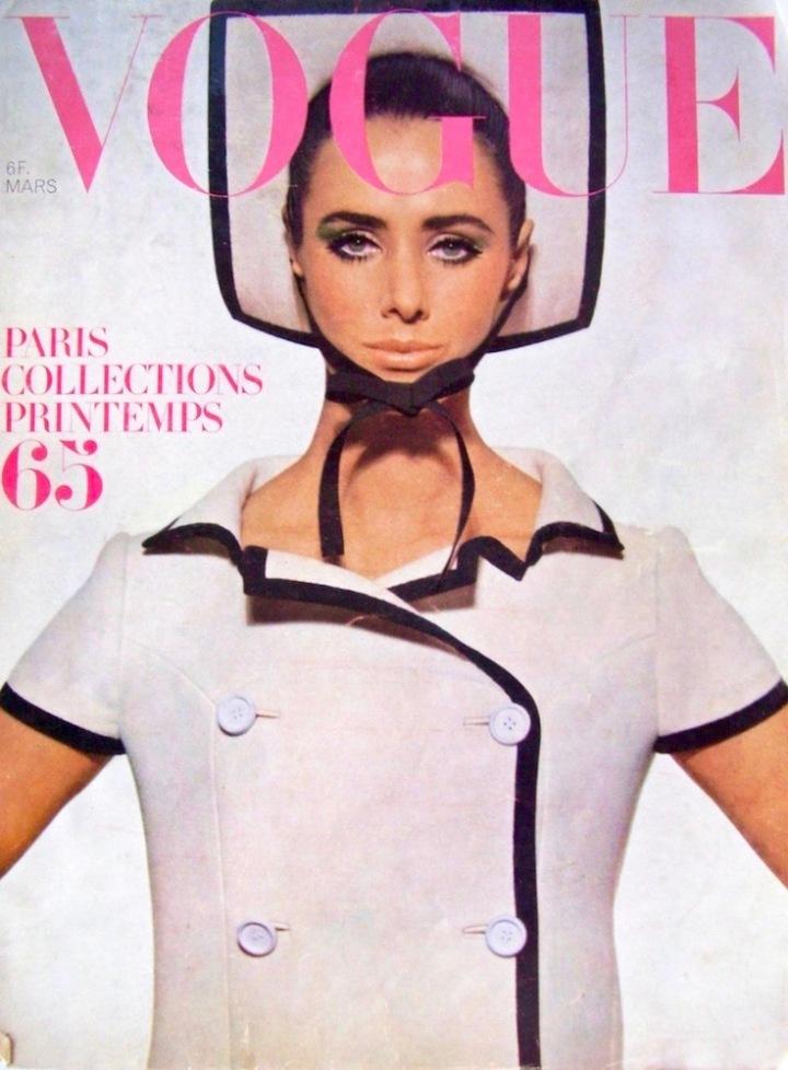 1960s Vogue Paris cover featuring Maggie Eckhardt in a Courrèges ensemble