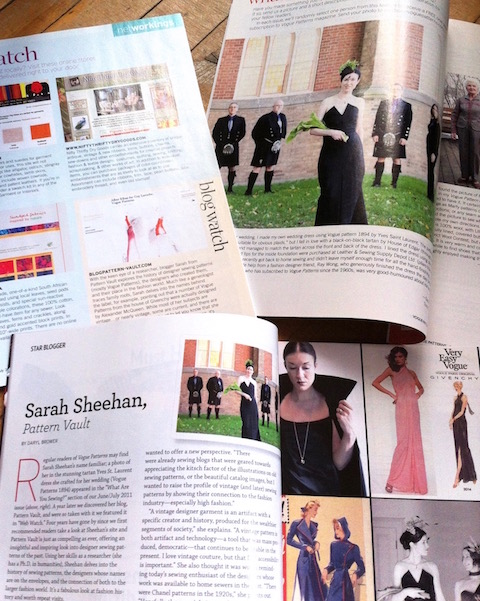 Sarah Sheehan / PatternVault press coverage in Vogue Patterns magazine, 2011 - 2016