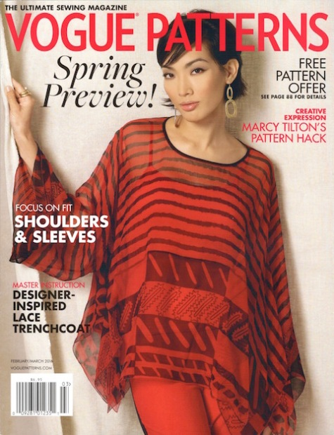 Zandra Rhodes pattern V1491 on the cover of Vogue Patterns magazine, 2016 spring preview issue