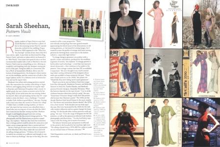 Sarah Sheehan, Pattern Vault, Vogue Patterns magazine, 2016