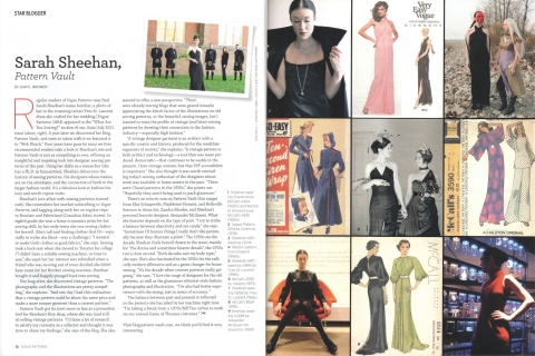 Star Blogger: Sarah Sheehan, Pattern Vault in Vogue Patterms magazine, Feb/Mar 2016