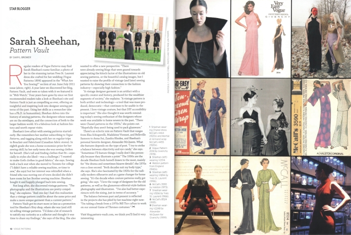 Star Blogger: Sarah Sheehan, Pattern Vault in Vogue Patterms magazine, Feb/Mar 2016