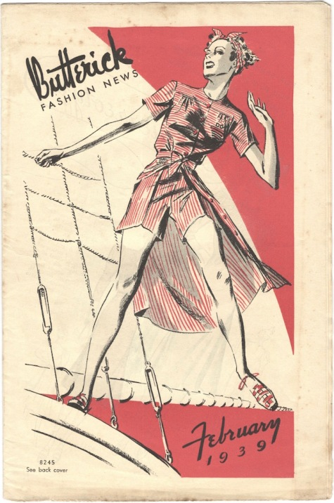 1930s sailing-themed illustration of Butterick 8245 (dress + shorts) on the cover of Butterick Fashion News