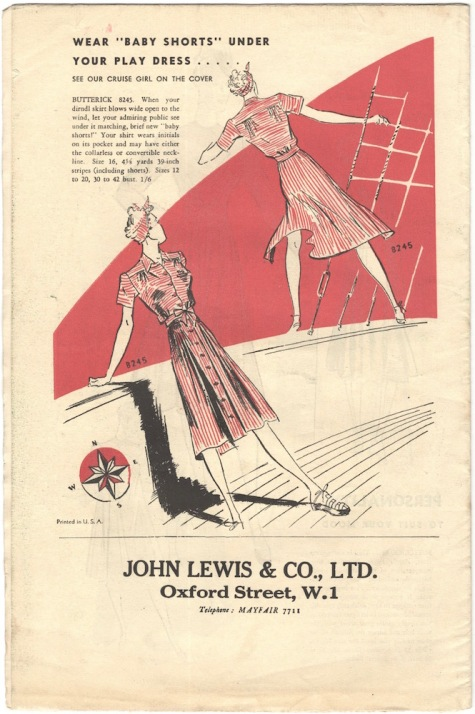 Back cover of Butterick Fashion News, February 1939.
