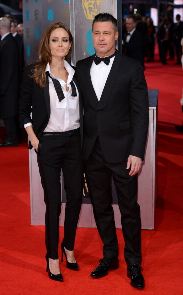 LONDON, ENGLAND - FEBRUARY 16: Angelina Jolie and Brad Pitt attend the EE British Academy Film Awards 2014 at The Royal Opera House on February 16, 2014 in London, England. (Photo by Karwai Tang/WireImage)