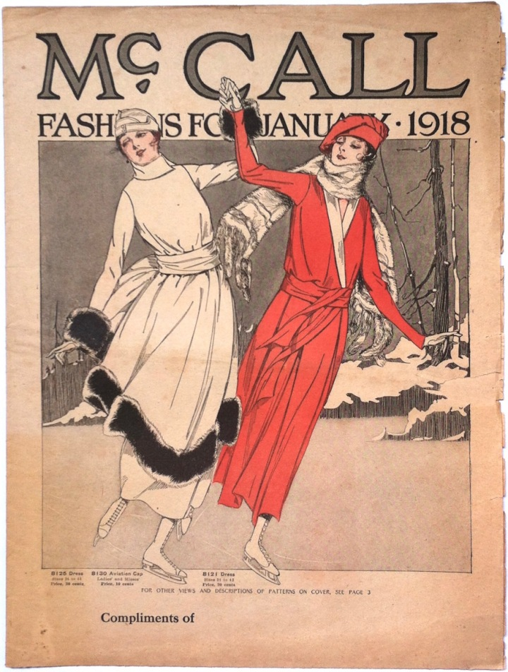 McCall 8125 dress, McCall 8130 aviation cap / McCall 8121 dress - cover of McCall Fashions for January 1918
