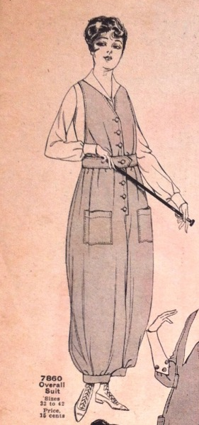 World War 1 McCall 7860 overall suit pattern in McCall Fashions leaflet