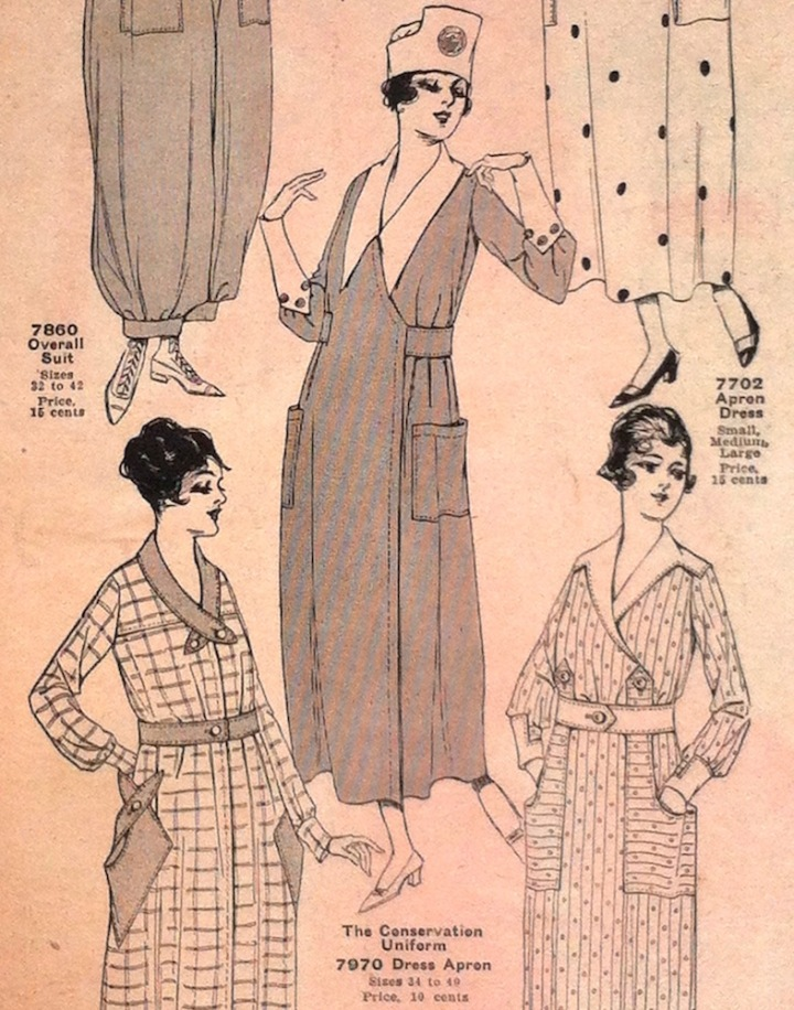 World War 1 dress apron / conservation uniform pattern McCall 7970 in McCall Fashions leaflet