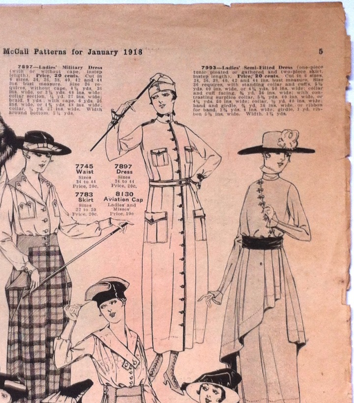 World War 1 patterns: Military dress McCall 7895 and aviation cap McCall 8130 in McCall Fashions leaflet