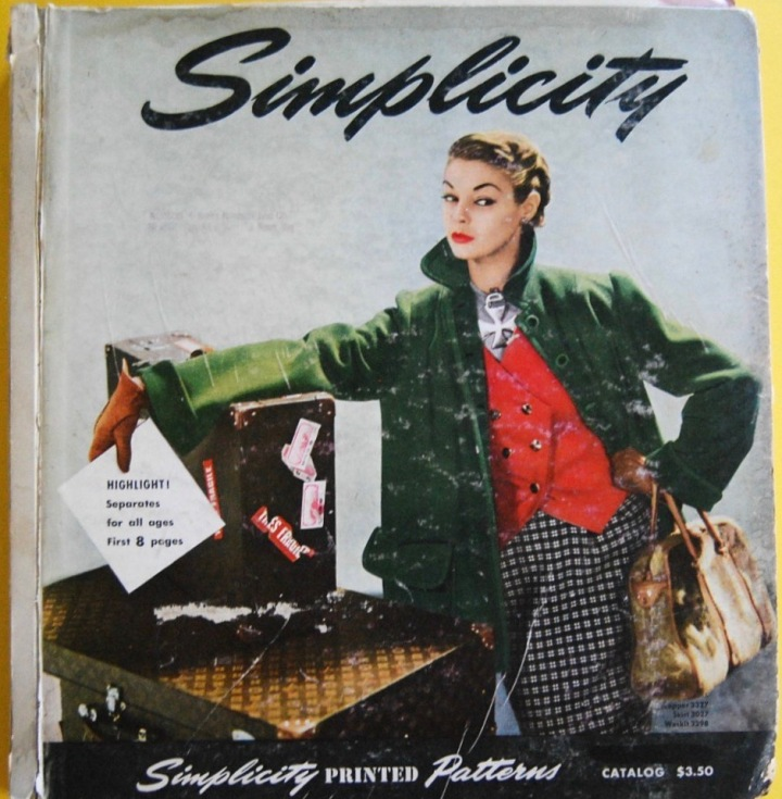 Fall-Winter 1950 Simplicity Pattern magazine. Green topper coat, Simplicity 3327. Red vest, Simplicity 3298. Plaid skirt, Simplicity 3027