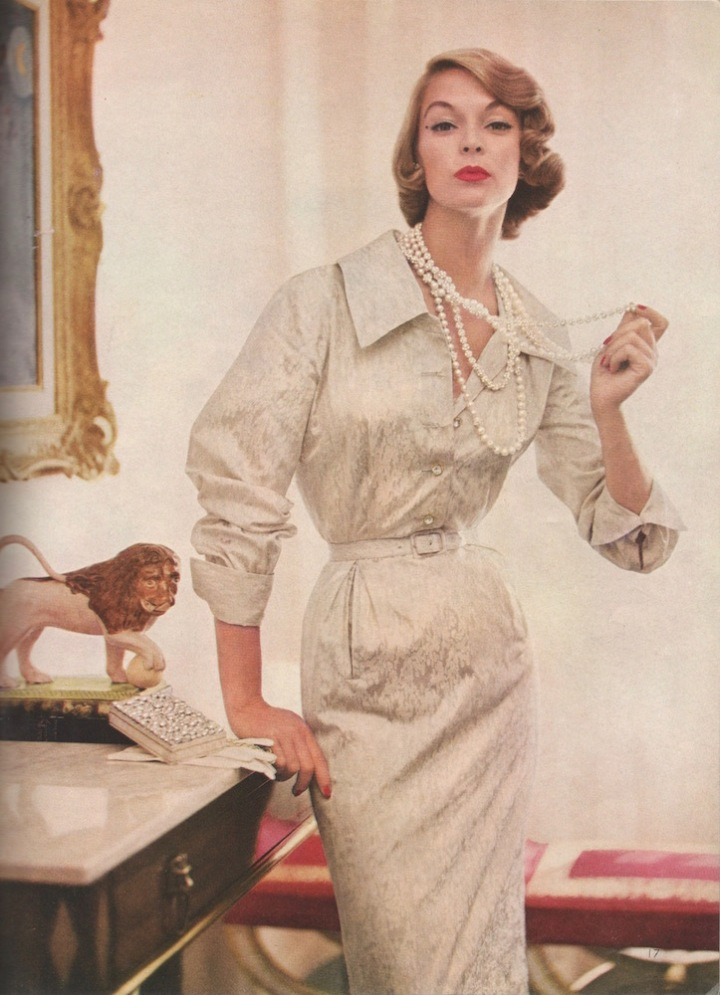 Jean Patchett photographed by Roger Prigent in Vogue S-4550, Vogue Pattern Book, December-January 1954-55