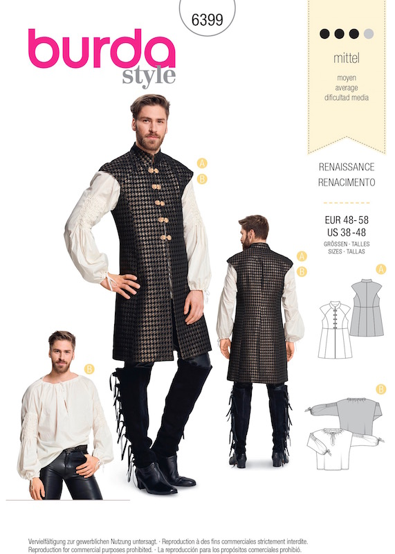 Game of Thrones men's costume pattern Burda 6399 (2018)