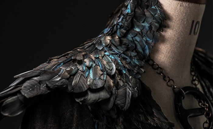 "Dark Sansa collar detail - goth Sansa / Alayne Stone costume in ""The Mountain and the Viper,"" episode 8 of Game of Thrones S4"