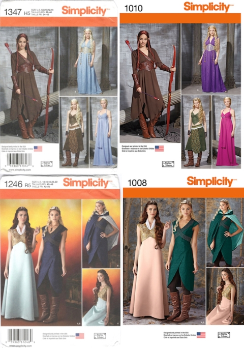 Simplicity Game of Thrones costume patterns, before and after - S1347 / S1010 and S1246 / S1008