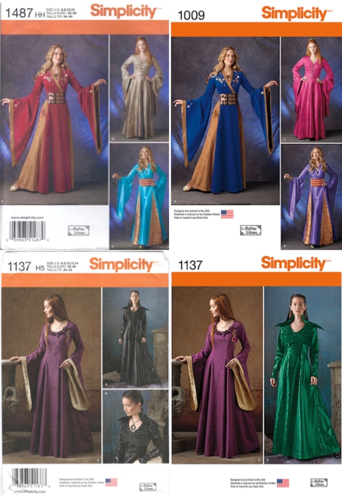 Simplicity Game of Thrones costume patterns, before and after - S1487 / S1009 and S1137