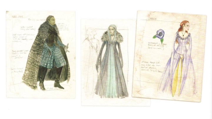Costuming Winterfell: costume sketches for Ned, Catelyn, and Sansa