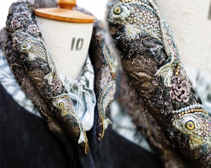 Fish neckroll embroidered by Michele Carragher for Game of Thrones