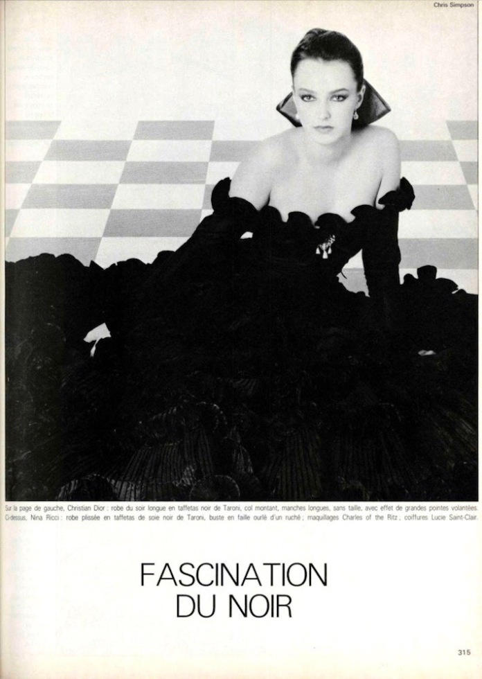 Fascination du Noir: Nina Ricci couture photographed by Chris Simpson, September 1980