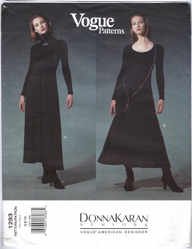 Early 1990s Donna Karan dress pattern - Vogue 1293