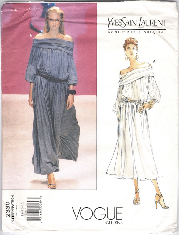 1990s Yves Saint Laurent off the shoulder maxi dress pattern Vogue 2330