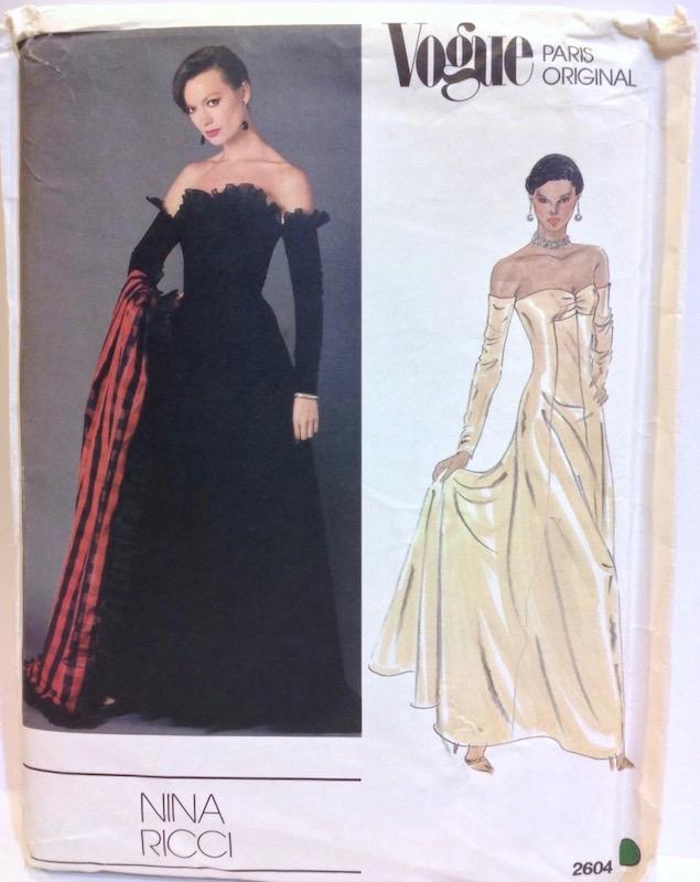 1980 Nina Ricci black off-the-shoulder gown pattern Vogue 2604