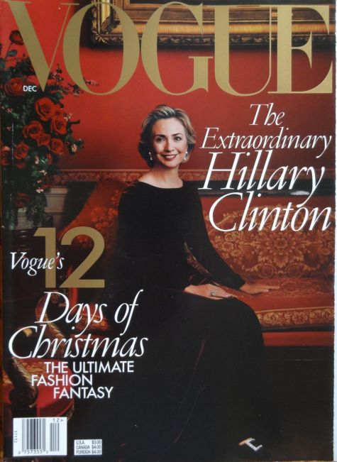 Hillary Clinton in custom Oscar de la Renta on the cover of Vogue magazine, December 1998