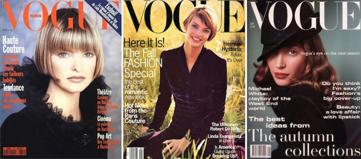 Vogue Paris Vogue US, and Vogue UK covers for Sept 1993 - Linda Evangelista by Max Vadukul and Steven Meisel, Christy Turlington by Mario Testino