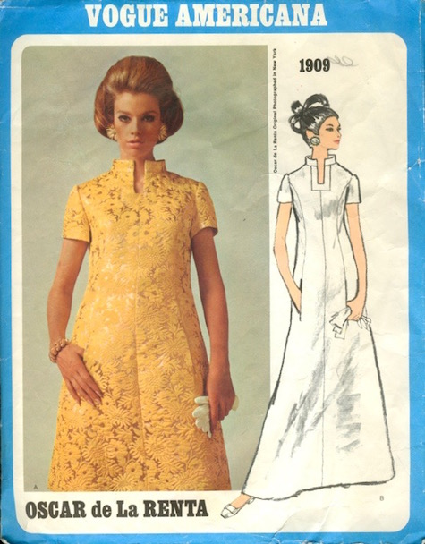 1960s Oscar de la Renta dress pattern Vogue 1909