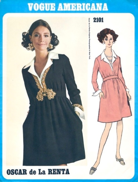 1960s Oscar de la Renta dress pattern Vogue 2101