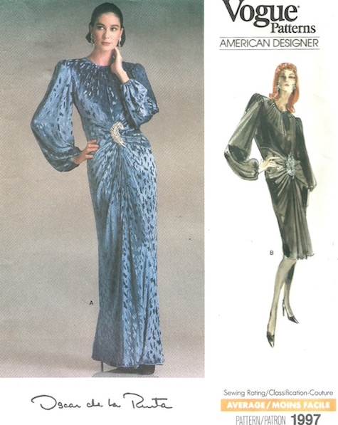1980s Oscar de la Renta dress pattern Vogue 1997