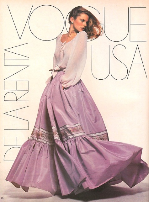 Christie Brinkley in 1970s Oscar de la Renta pattern Vogue 1667