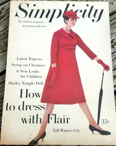 Carmen Dell'Orefice on the cover of Simplicity magazine, fall 1958