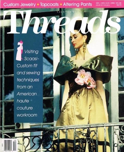 A Scaasi gown on the cover of Threads magazine, holiday 1991