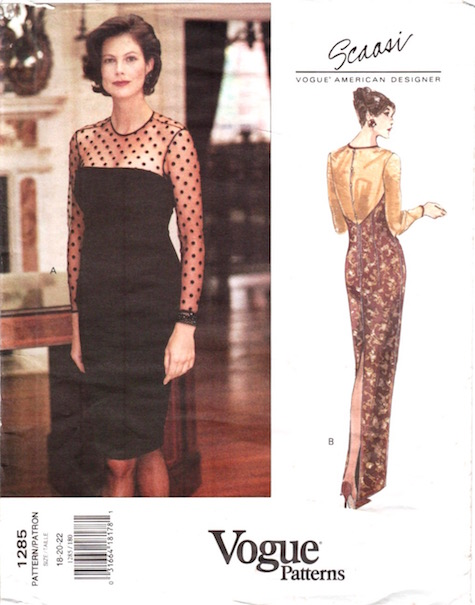 1990s Scaasi formal dress pattern Vogue 1285