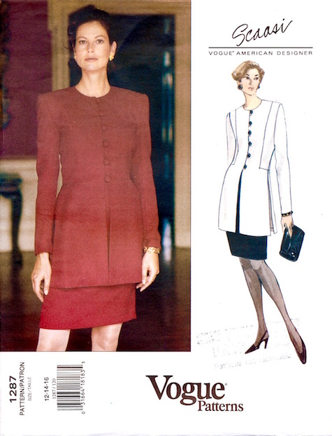 1990s Scaasi skirt suit pattern Vogue 1287