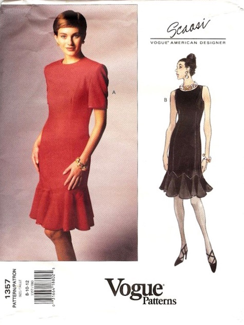 1990s Scaasi dress pattern Vogue 1357